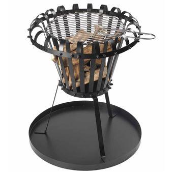 Brasero cesta Perel, bandeja de cenizas redondo Negro BB650