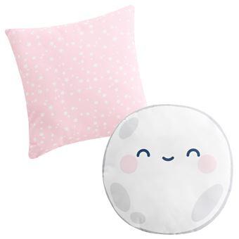 Set de 2 cojines decorativos Pekebaby Good Night rosa algodón