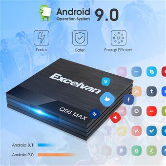 TV Box Excelvan Q96 Max 4GB + 32GB Android 9.0 USB3.0 100Mbps 2.4G WiFi, Negro