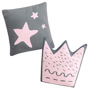 Set de 2 cojines decorativos Pekebaby Little Crown rosa algodón