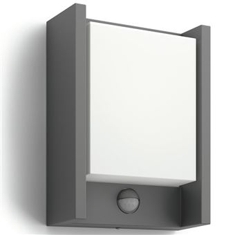 Luz de pared LED Phillips, sensor movimiento Arbour 6 W Gris 164619316