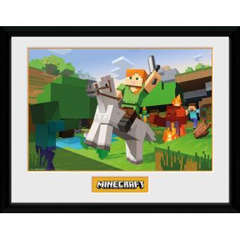 Fotografía enmarcada Minecraft Ataque de los Zombies 30x40 cm