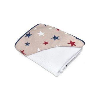 Capa de baño con capucha 100x100cm Estrellas beig