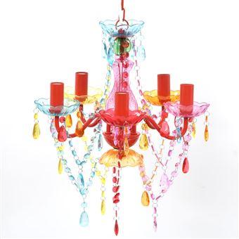 Lámpara araña de techo vidaXL, cristales de varios colores 5 bombillas