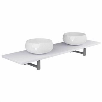 Conjunto vidaXL de muebles de baño de tres piezas cerámica blanco