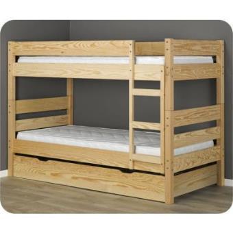 Litera 1 2 3 cama nido supletoria natural 90x190cm - Literas nido 3 camas ...