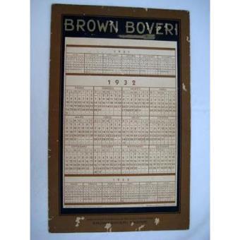 Calendario 1932 Espana.Calendario Publicidad Advertising Calendar Brown Boveri