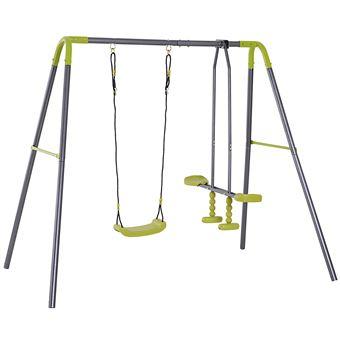 Set de Columpio Infantil al Aire Libre con Columpio y Planeador de balancín Columpio Jardín de Metal Adecuado Niños 3-10 Años