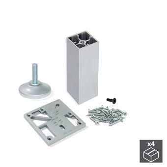 Emuca Kit pie nivelador para mueble, cuadrado, regulable 110-120 mm, Aluminio, Anodizado mate,  4 ud.