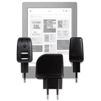 Cargador Con Enchufe Europeo Para Kobo Aura H20 - Con Doble Entrada USB Por DURAGADGET