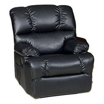Sillón Relax Deluxe Masaje Reclinable, Calor Lumbar, 8 Motores De Vibración, (Negro)