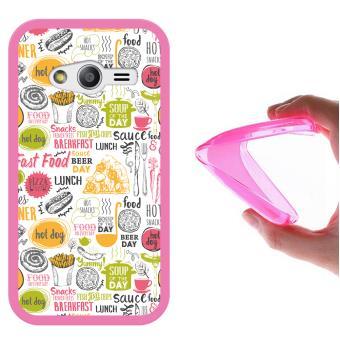 197b6baa555 Funda Samsung Galaxy Ace NXT, WoowCase Funda Silicona Gel Flexible Comida  Fast Food, Carcasa Case - Rosa - Fundas y carcasas para teléfono móvil -  Los ...