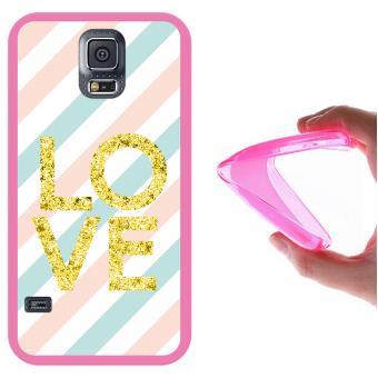 ef6bac7841f Funda Samsung Galaxy S5, WoowCase Funda Silicona Gel Flexible Rayas Amor,  Carcasa Case - Rosa - Fundas y carcasas para teléfono móvil - Los mejores  precios ...