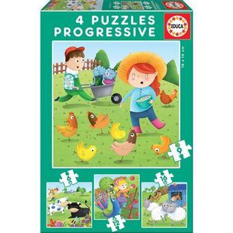 Puzzles Progresivos Animales De La Granja 6-9-12-16pz