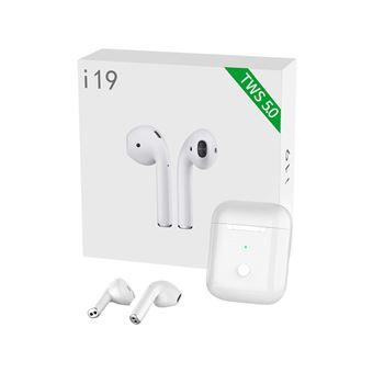 Auriculares inalámbricos Bluetooth I19 TWS In Ear con base de carga y micrófono blanco