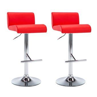 f3b69b5c3417 Sillas altas de bar vidaXL, de cuero sintético Rojo 2 unidades - Taburete -  Los