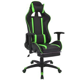 Silla de escritorio vidaXL Racing con reposapiés Verde