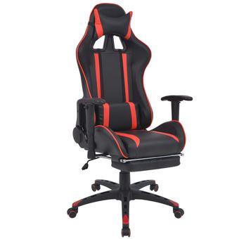 Silla de escritorio vidaXL Racing con reposapiés Roja
