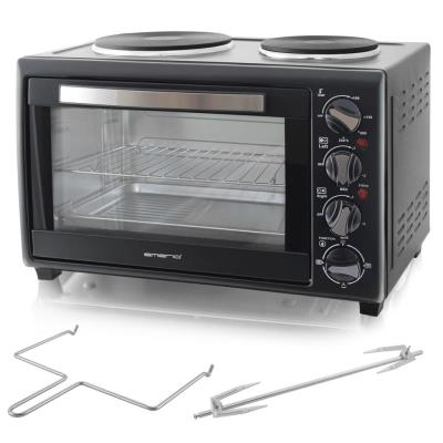Mini horno con placas calientes 3200 W 28 L Negro