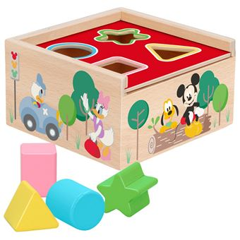 Cubo 4 formas encajables madera natural Disney baby by WOOMAX