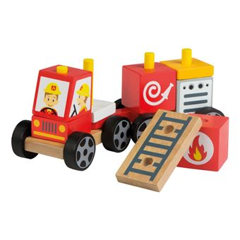 Coche bomberos de madera natural Play&Learn