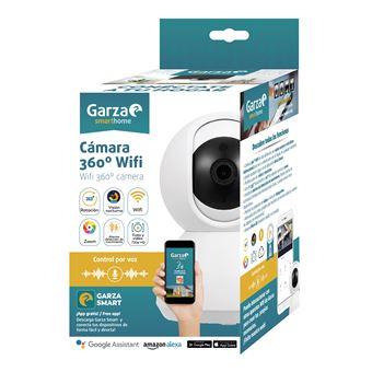 Garza Smarthome - Cámara vigilancia IP WiFi 360º Compatible con Dispositivos Alexa con Pantalla y Google Chromecast. Cámara Smart de Alta definición 720p, micrófono Integrado y visión Nocturna