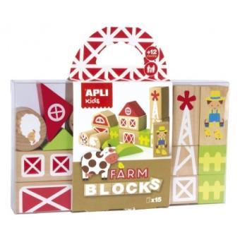 Juego Granja para construir - 15 bloques de madera