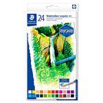 24 crayones redondos acuarelables Staedtler colores surtidos