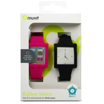 Muvit Pack 2 Fundas  Muñequera para iPod Nano 6G Rosa/Negro