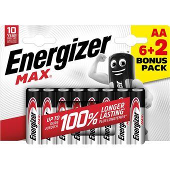 Pilas alcalinas AA Energizer Max - 6+2 unidades