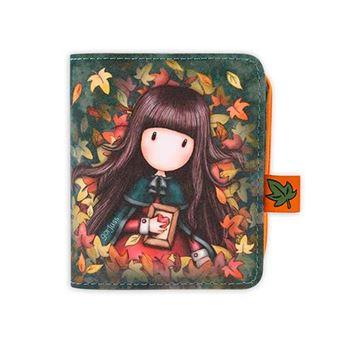 Billetero monedero Gorjuss Autumn Leaves 2 en 1 con cierre cremallera