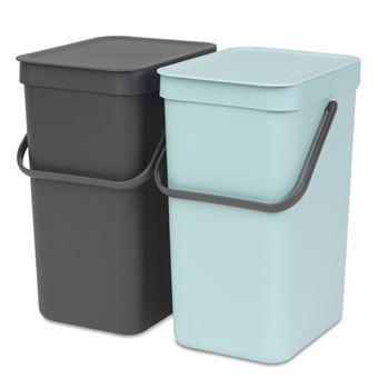 Cubo de basura empotrado Brabantia Sort & Go 12 L Menta/Negro