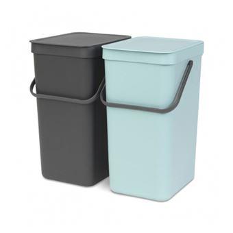 Cubo de basura Brabantia Sort & Go 2 x 16 L Gris/Verde