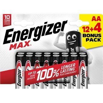 Pilas alcalinas AA Energizer Max - 12+4 unidades