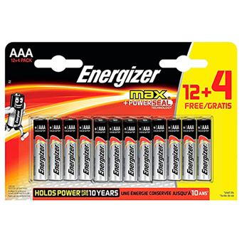 Pilas alcalinas AAA Energizer Max - 12+4 unidades
