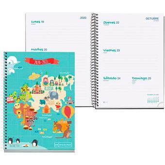 Agenda escolar 2020-2021 Miquelrius Junior Mapamundi Plus s/v rígida espiral azul
