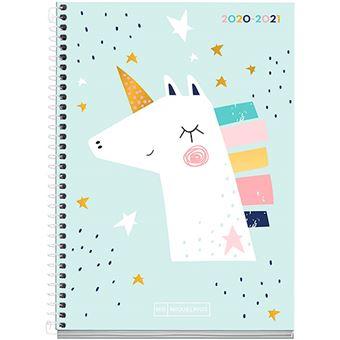 Agenda escolar 2020-2021 Miquelrius Junior Unicornio Plus s/v rígida espiral azul cielo