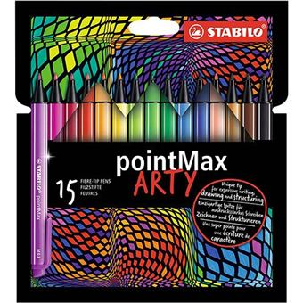 Rotulador punta media Stabilo pointMax Arty estuche con 15 colores