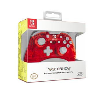 Mando Mini PDP con Cable Rock Candy Cereza Glow para Nintendo Switch
