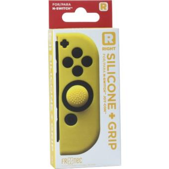 Funda silicona + Grip derecho amarillo  Nintendo Switch