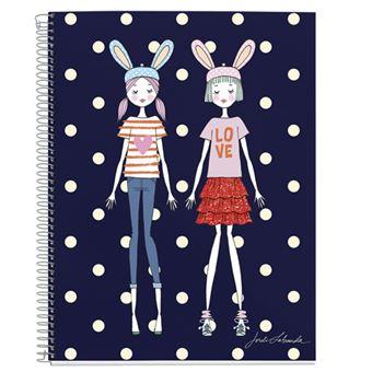Cuaderno Espiral A5  120 Hojas Cuadriculado Miquelrius Jordi Labanda Bunnity