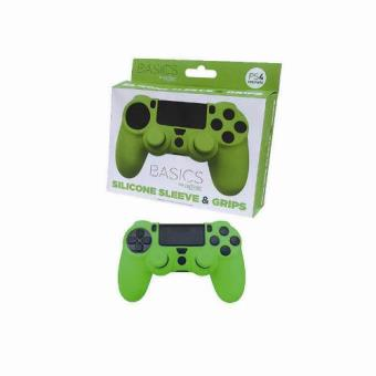 Pack Funda silicona + Grips Verde PS4