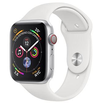 Apple Watch S4 44mm LTE Caja de Aluminio Plata con Correa Deportiva Blanca