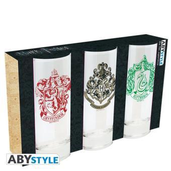 Set 3 vasos Harry Potter Hogwarts / Gryffindor / Slytherin