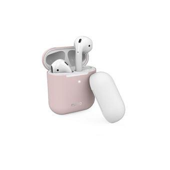 Funda de silicona Puro Rosa + tapa blanco para Apple Airpods