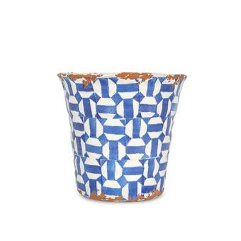 Maceta de terracota Azul/Blanco