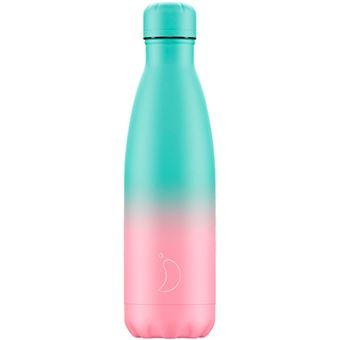 Botella Chilly's 500 ml gradient pastel menta y rosa