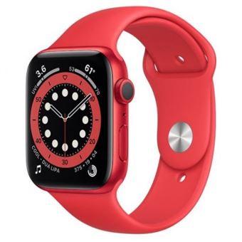 Apple Watch S6 44mm GPS Caja de aluminio (PRODUCT) RED y correa deportiva Rojo