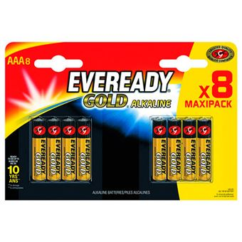 Pilas alcalinas AAA Energizer Eveready Gold LR03 - 8 unidades
