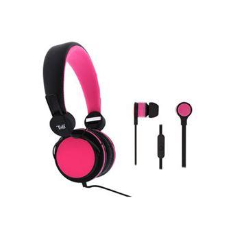 Pack 2 en 1 Auricular diadema + auricular  TnB in-ear  rosa/negro